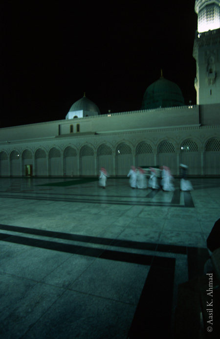 Prophet\'s mosque in Medina, funeral procession in the early morning