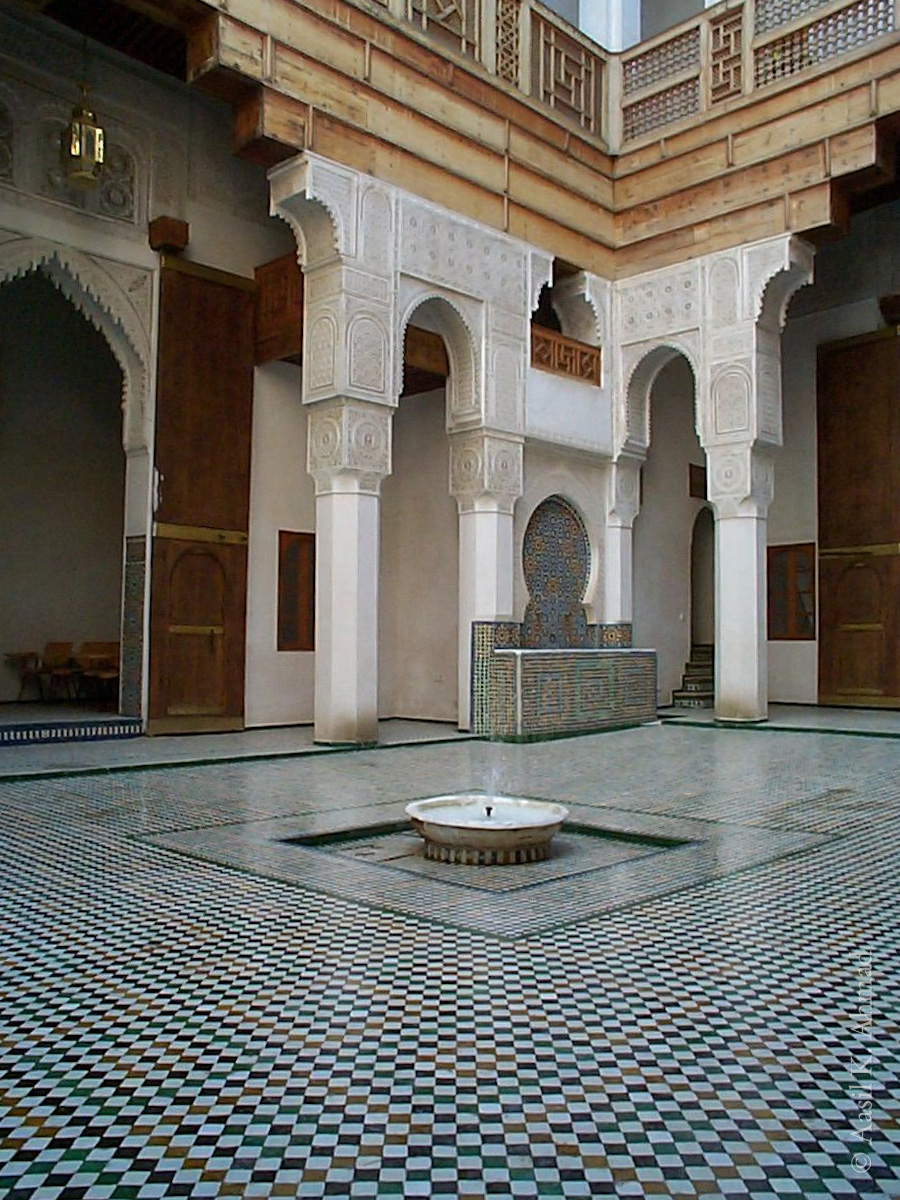 Courtyard of a traditional home in Fes. This particular house had been renovated and converted into a music school.