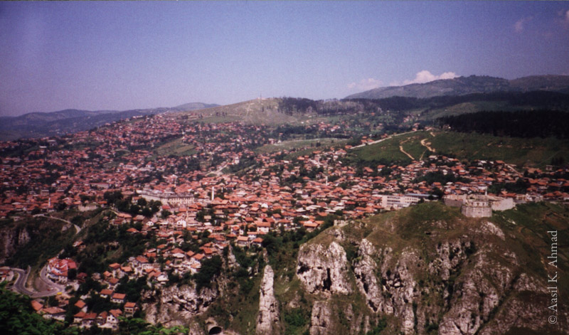 Hills overlooking the old part of Sarajevo.