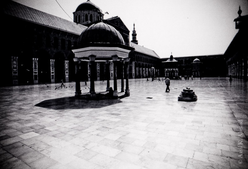 The courtyard of the Umayyad mosque in Damascus.